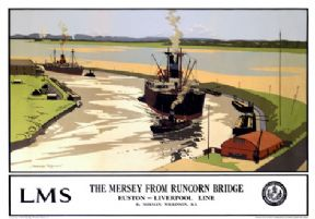 Vintage Travel Poster The Mersey From Runcorn Bridge LMS Train Ships